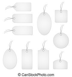Set of white hangtags