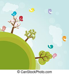Cartoon earth with trees and birds