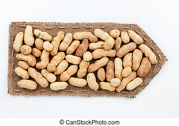 Pointer of  burlap with peanut, on a white background