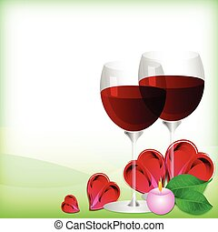 Valentine wine glasses. Feb 14 - Greeting card with glasses...