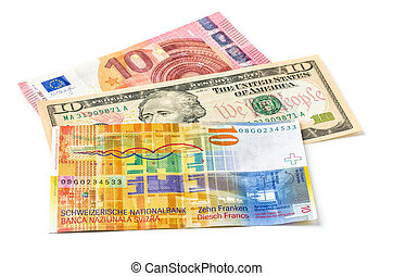Euro, Dollar and Swiss Franc on a white background