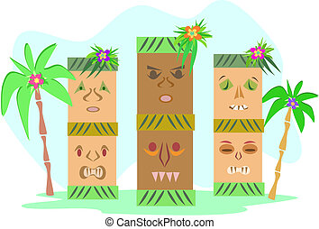 Three Tropical Tiki Totems - Here are three Tiki totems...