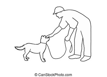 petting dog - illustration, outlined man petting dog head...