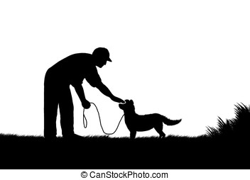 petting dog - illustration,silhouette of man petting dock...