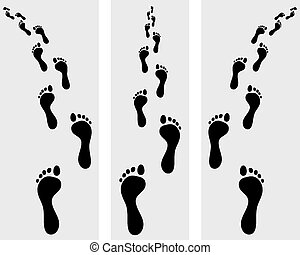 footsteps - Trail of human bare footsteps, vector...