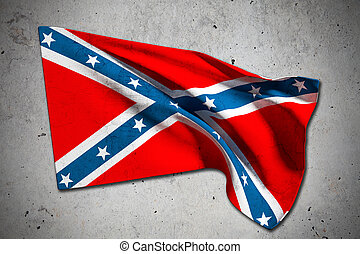 confederate flag - 3d rendering of an old confederate flag