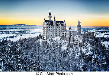 Neuschwanstein Castle at sunset in winter landscape Germany