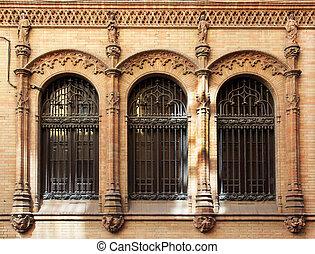 Neo-Gothic Facade Seville Spain - a neo-gothic facade in...
