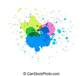 Colored Ink Drops - Abstract Grunge Colored Paint Scatter...