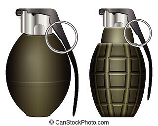 grenades - Green grenade set on a white background.
