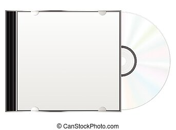 compact disc case - Compact disc case and CD on a white...