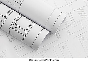 Architect rolls and plans, construction plan drawing