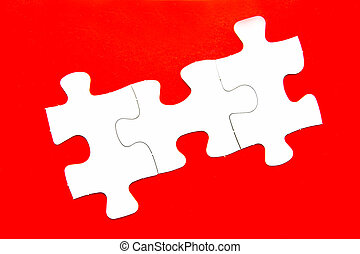 Jigsaw Puzzle - Pieces of jigsaw puzzle isolated against a...