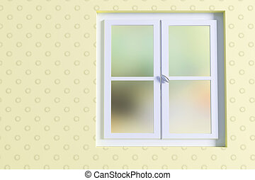 window - 3d rendering of a yellow room and an a window