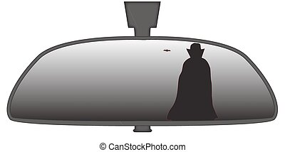 Dracula In Rear View Mirror - Dracula in a car rear view...