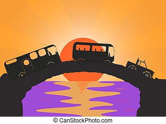 Holiday Vehicles Stone bridge - A holiday vehicle convoy on...