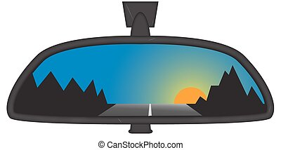 Mountain Sunset In Chunky Rear View Mirror - Sunset behind...