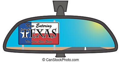 Texas In Chunky Rear View Mirror - Texas sign in a chunky...