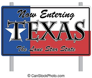 Now Entering Texas Sign - A now entering Texas signpost...