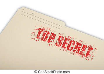 Top Secret Information - A top secret folder isolated on a...