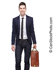 Happy business man smiling with bag - Portrait of a happy...
