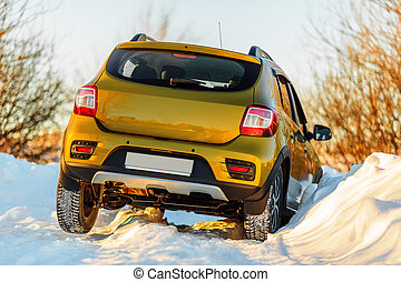 Car in snowdrift in countryside