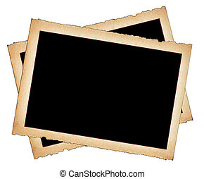 paper frames with frayed edges on white background