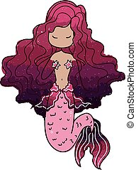 Mermaid - Nice isolated cartoon mermaid
