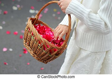 childrens hand throw rose petals