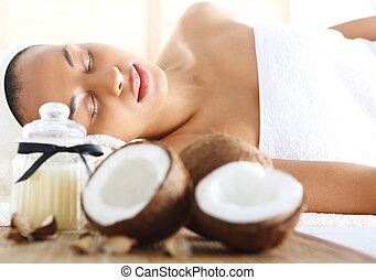 Wellness & spa - Figure of a woman in the office of the spa...