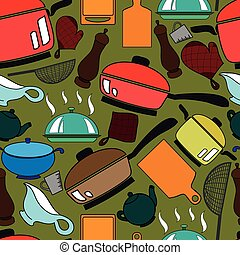 Seamless pattern with kitchen utens