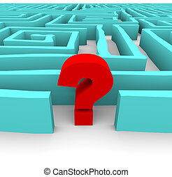 Question Mark in Blue Maze - A red question mark stands in a...