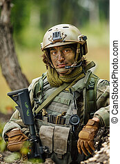 Portrait of a soldier in the woods