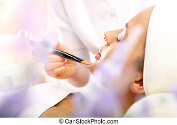 Lavender make up - Woman in a beauty salon, makeup artist...