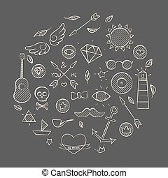 Hand drawn set of hipster elements over brown - Vector...
