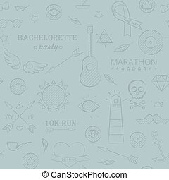 Marine doodle seamless hipster pattern