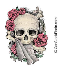 Mixed media colorful illustration Skull, bones and flowers