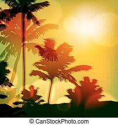 Sea sunset with island and palm trees EPS10 vector