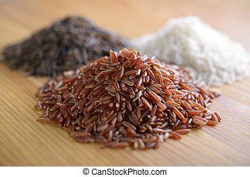 Rice - Three variety of rice: red rice, wild rice, and white...