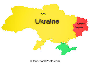 War in Ukraine 5 - War in Ukraine concept isolated on white...
