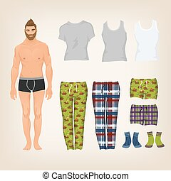 Vector dress up male paper doll with an assortment of...