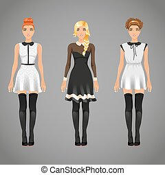 Vector pretty females in different black and white collar...