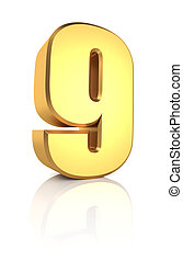3d Number 9 - 3d rendering golden number 9 isolated on white...