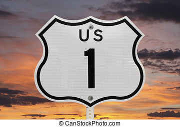 US Highway One Sign with Sunrise Sky