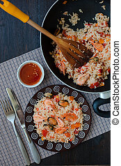 Thailand's, dish, stir-fried, rice, with, shrimp, and,...