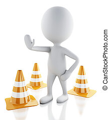 3d white people stop sign with traffic cones on white background