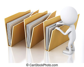 3d image. White people with yellow folders.