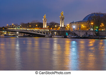 Pont Alexandre III at night in Paris, France
