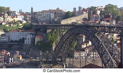 City of Porto with Dom Luis Bridge over Douro River