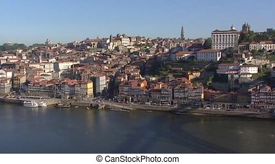 Skyline Porto Ribeira Houses at Douro river in shadow of Dom...